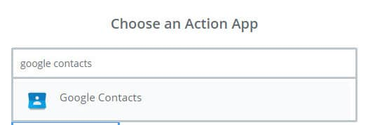 choose google contacts as action app