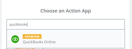 choose quickbooks as action app