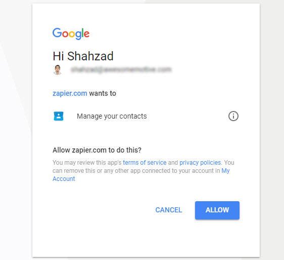 connect google contacts with zapier