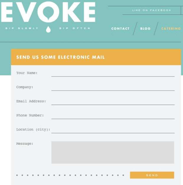 evoke contact form design example