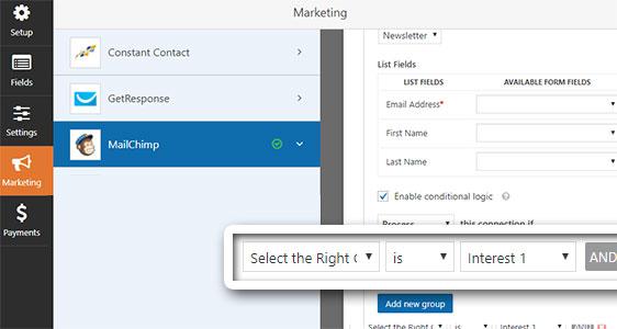 mailchimp groups marketing settings