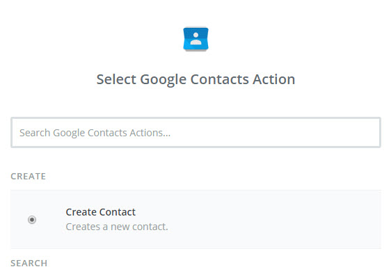 select google contacts action