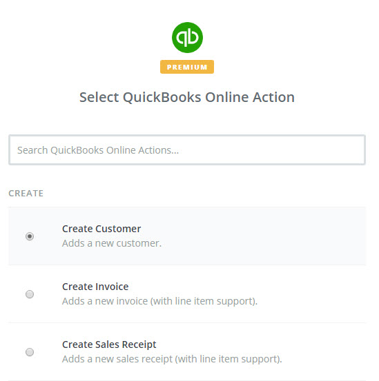 select quickbooks online action