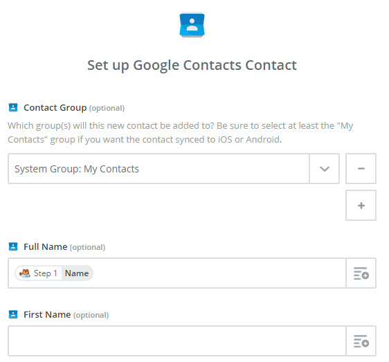 set up google contacts contact