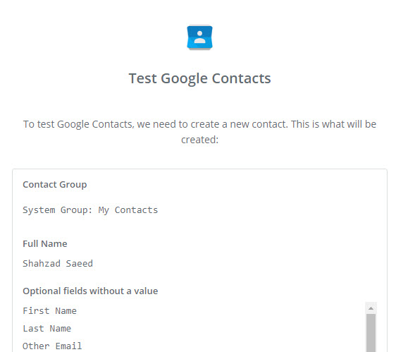 test google contacts
