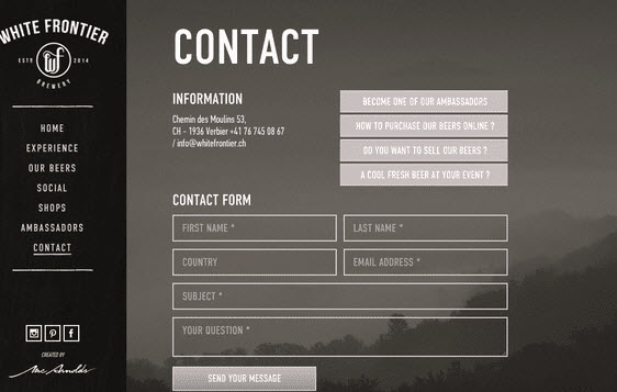 transparent contact form design example
