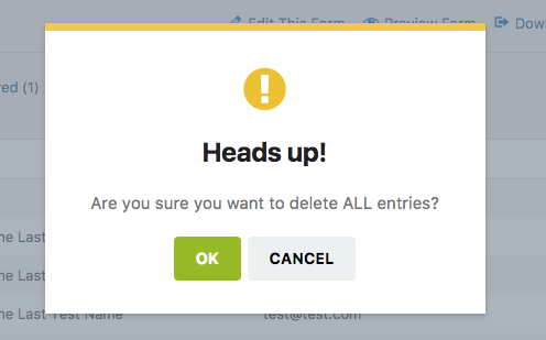 Confirmation to delete all entries for a form