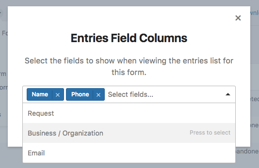 Entries field columns modal