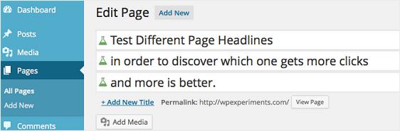 Title Experiments wordpress a/b testing plugin