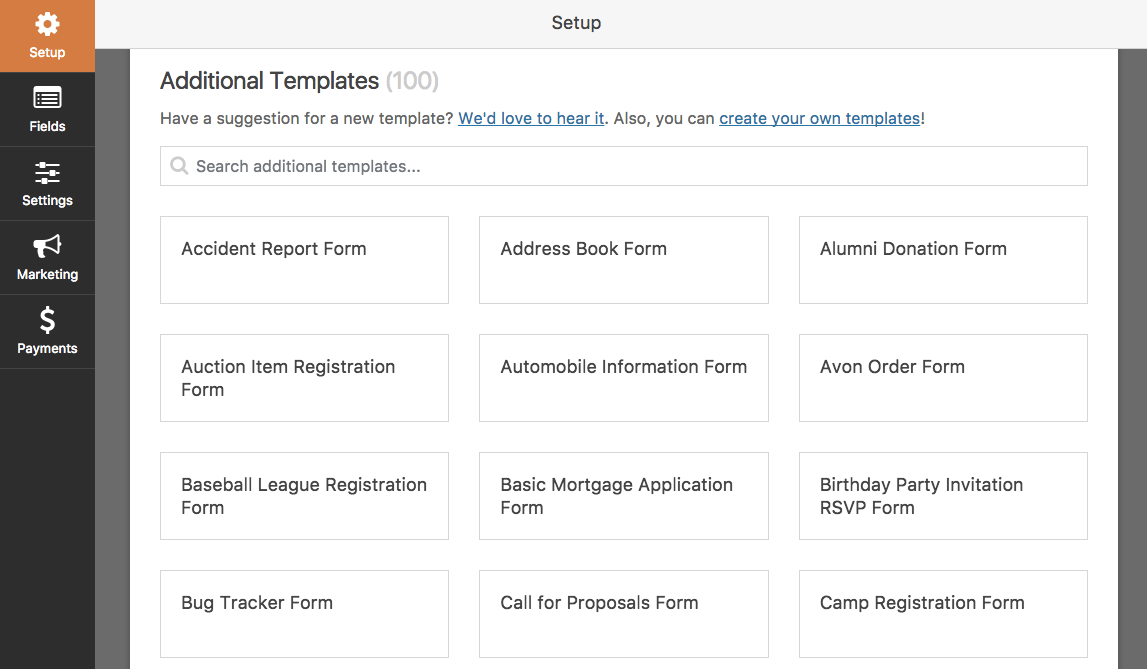 View Addiitonal Templates from the Templates Pack addon in WPForms