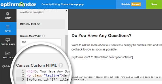 add canvas custom html