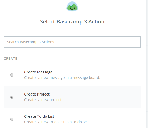 basecamp action create project