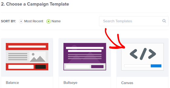 choose canvas as campaign template
