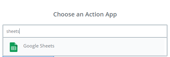 choose google sheets as action app