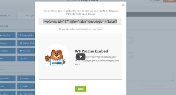 embed popup contact form
