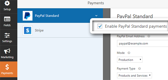 enable paypal payments