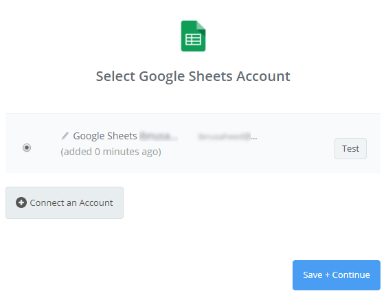select google sheets account