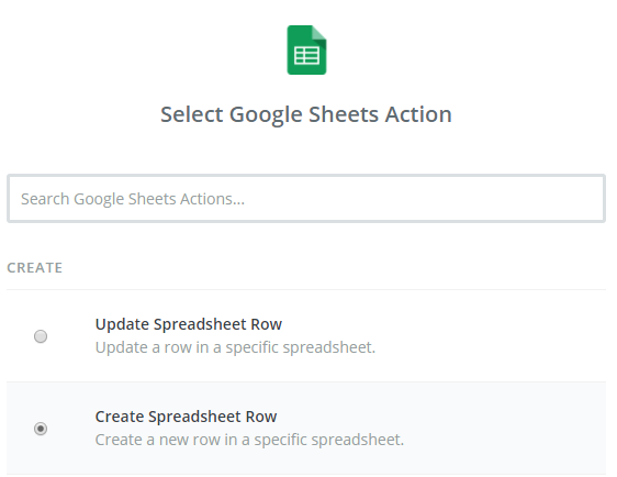 select google sheets action
