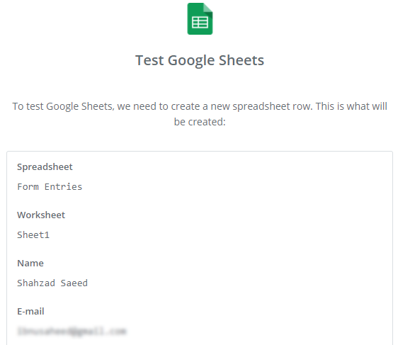 test google sheets
