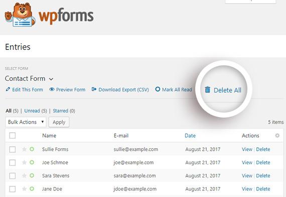 wpforms delete all entries