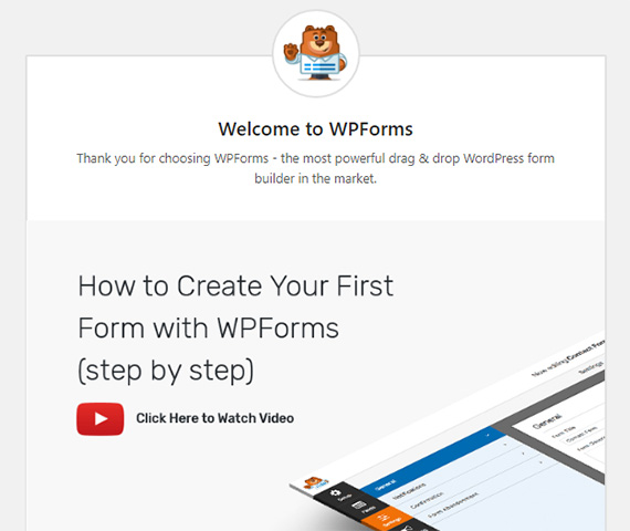 new WPForms welcome screen