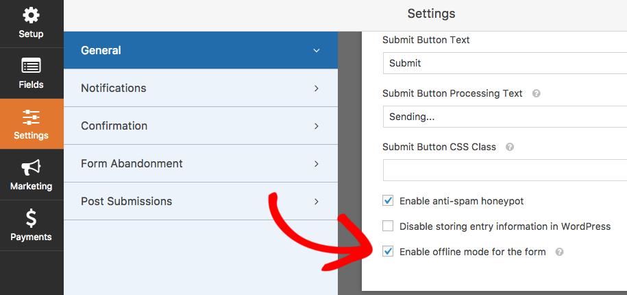 Enable Offline Mode in WPForms