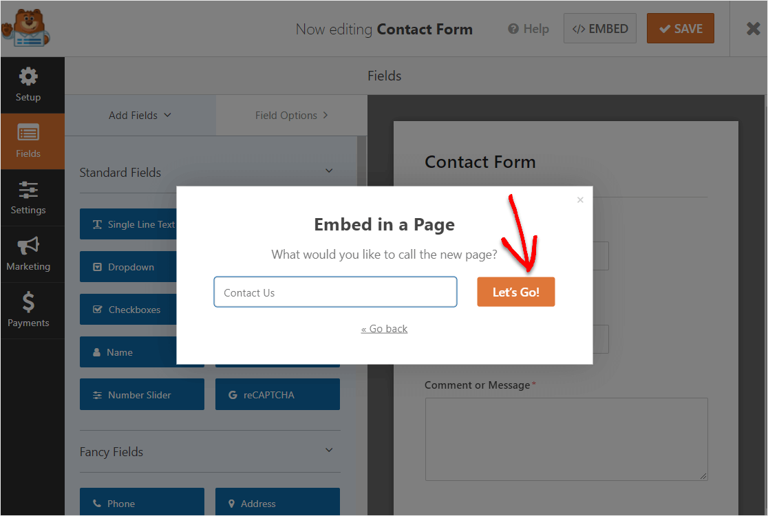 embed constant contact form in wordpress page
