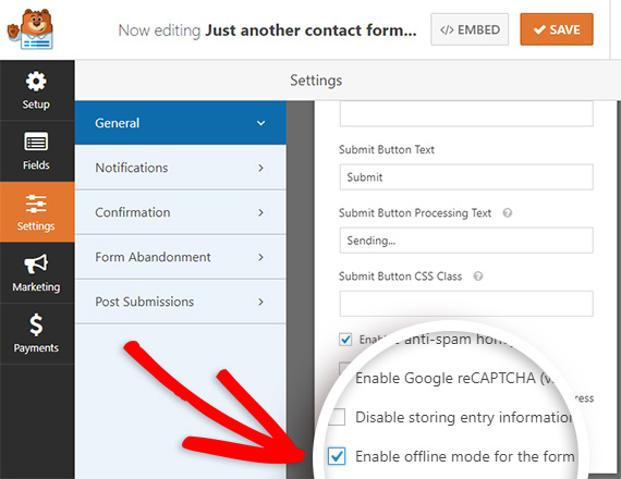 enable offline form mode