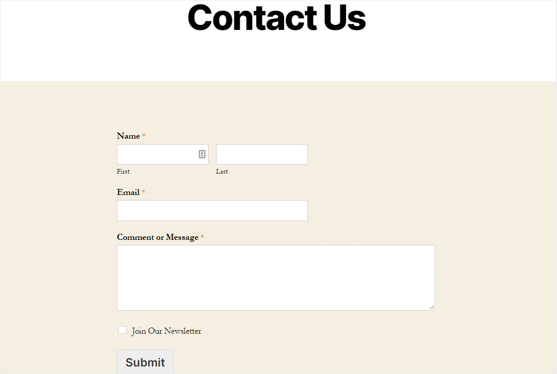 final constant contact form on wordpress