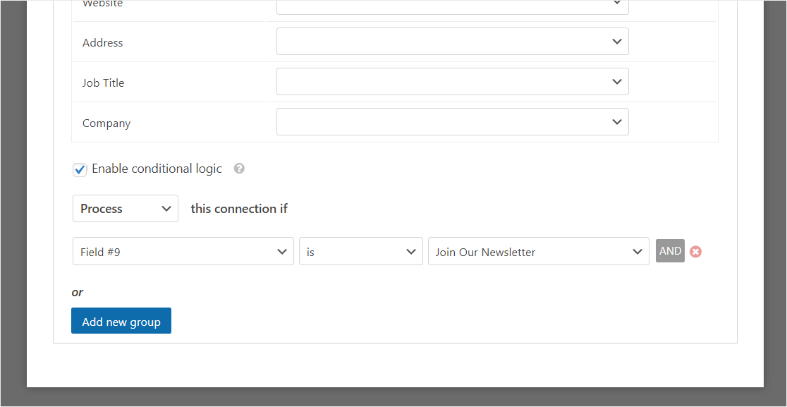 how to add conditional logic to constant contact form