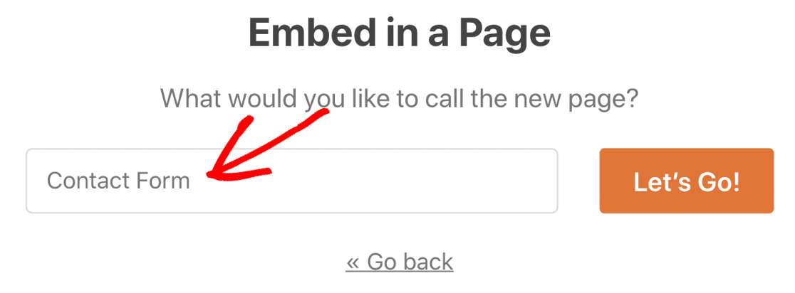Name your new contact page