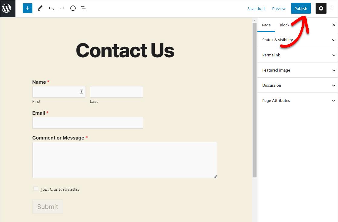 publish constant contact wordpress form