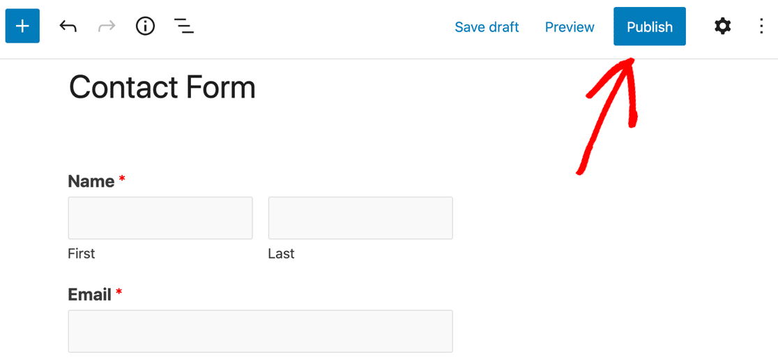 Publish contact form