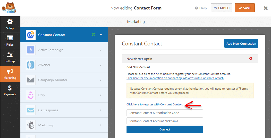register constant contact with wpforms wordpress