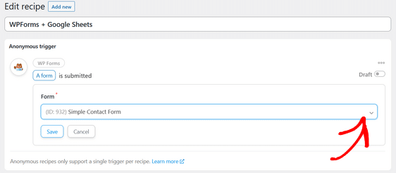 select the wordpress form you want to use
