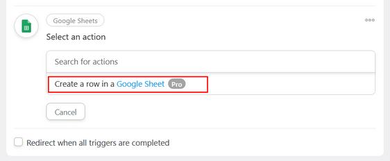 select google sheet action
