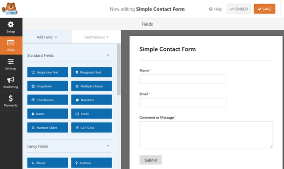 create a contact form