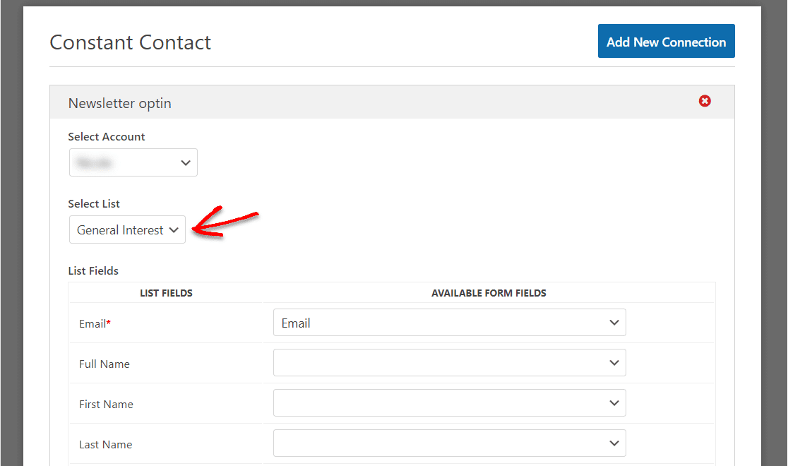 wordpress contant contact integration screen wpforms