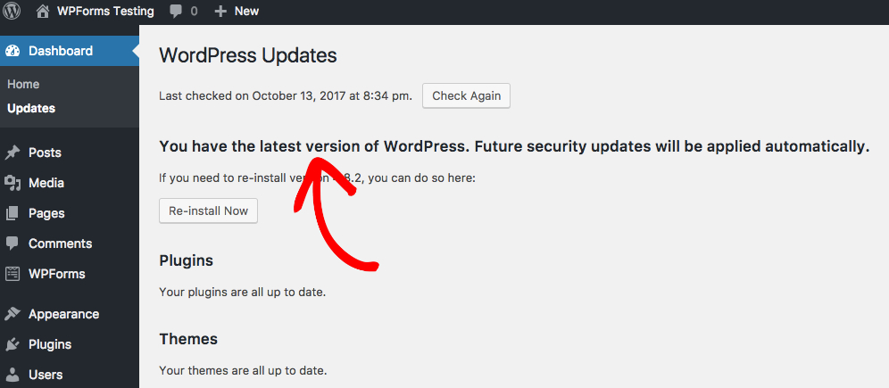 Check that WordPress core is fully updated