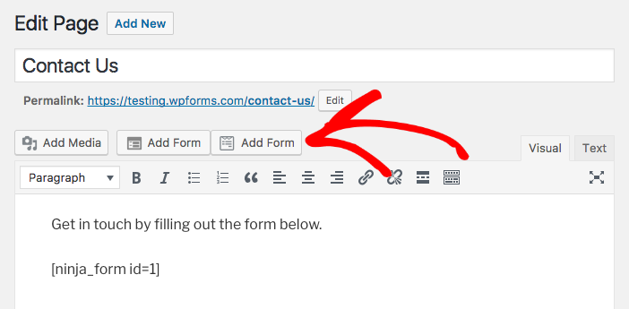 Click the Add Form button to easily add WPForms shortcode