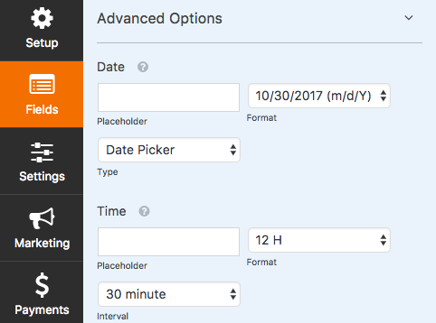 Customization options for Date Time field in WPForms