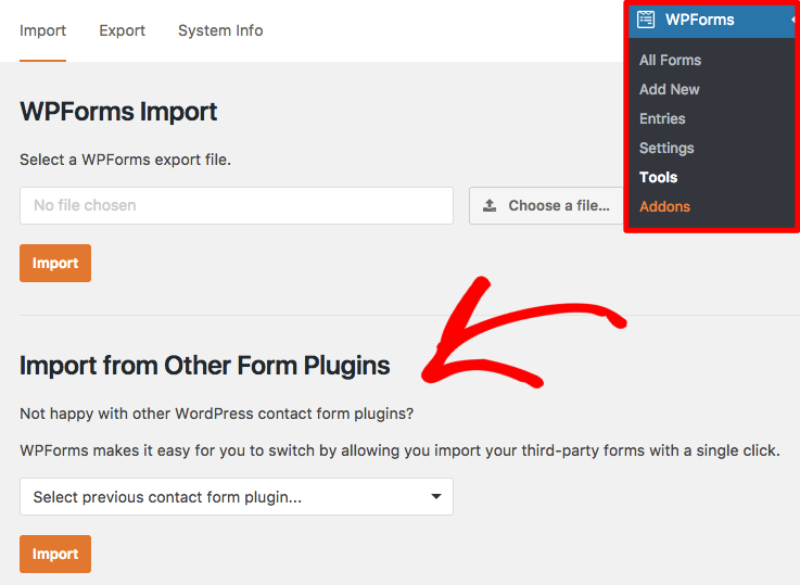 Open the WPForms form importer