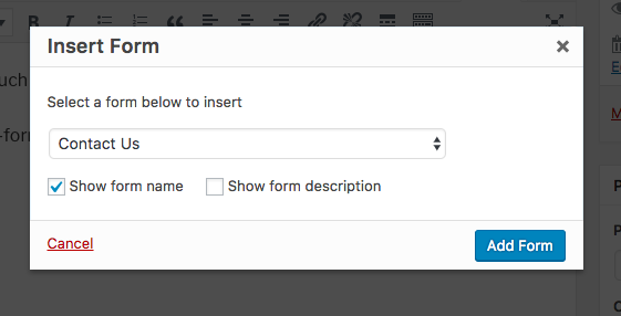 Select a form to display shortcode
