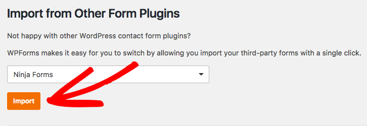 Select the Ninja forms plugin and import