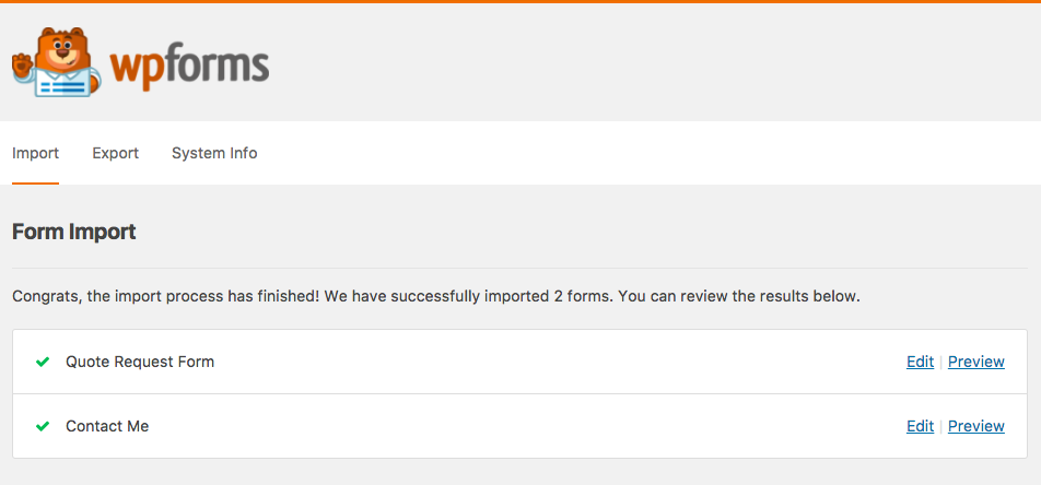 Successful import of forms to WPForms