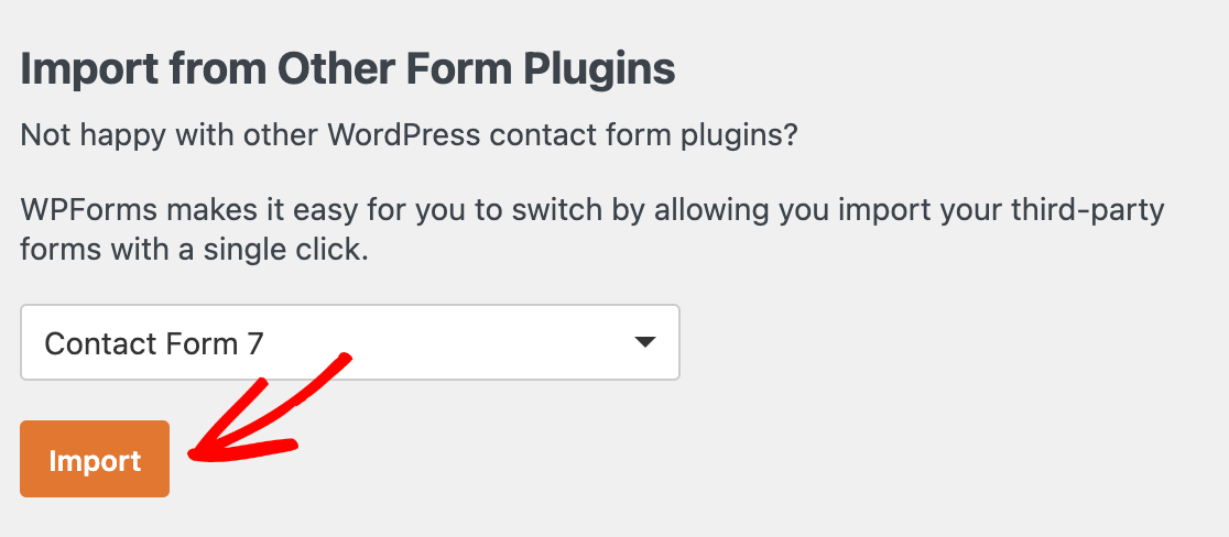 Choosing Contact Form 7 as the import source