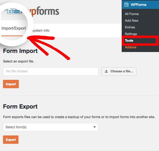 WPForms Import Export feature