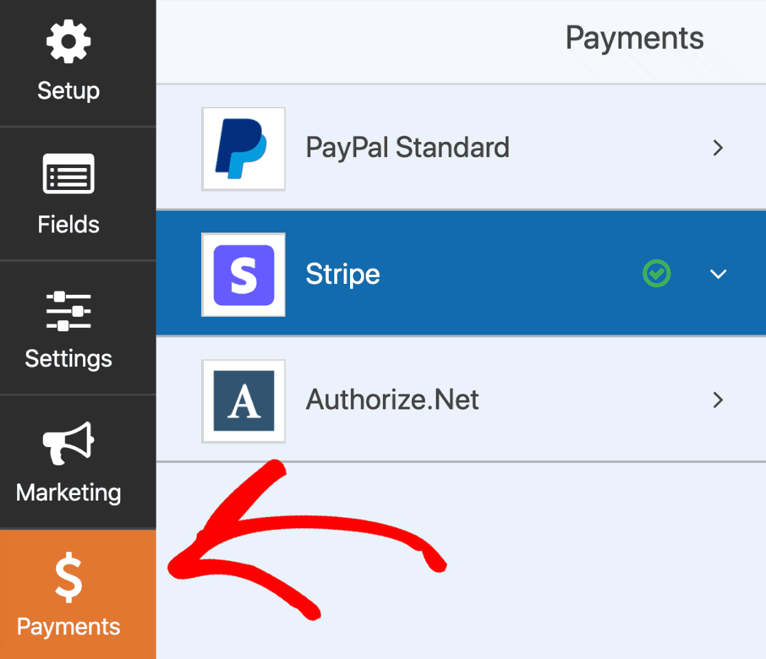 Payment tab in form builder