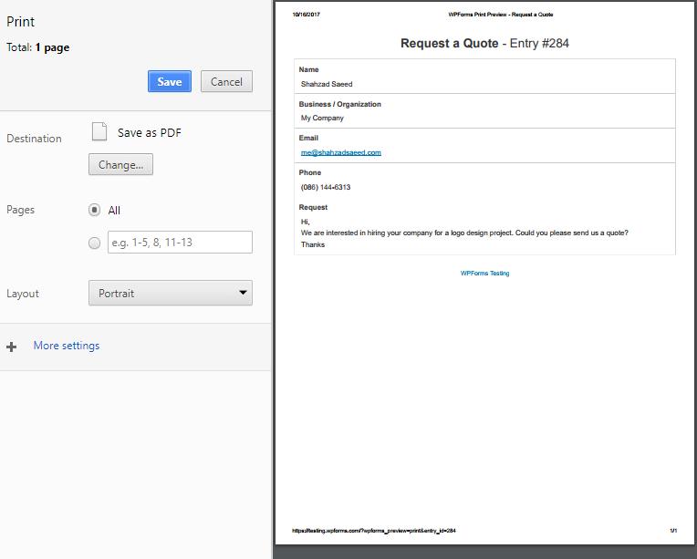 print a wordpress form entry