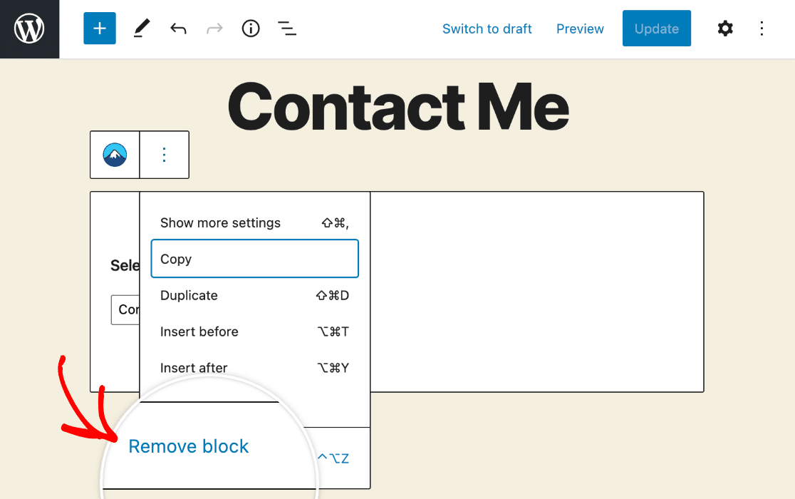 Removing the Contact Form 7 block